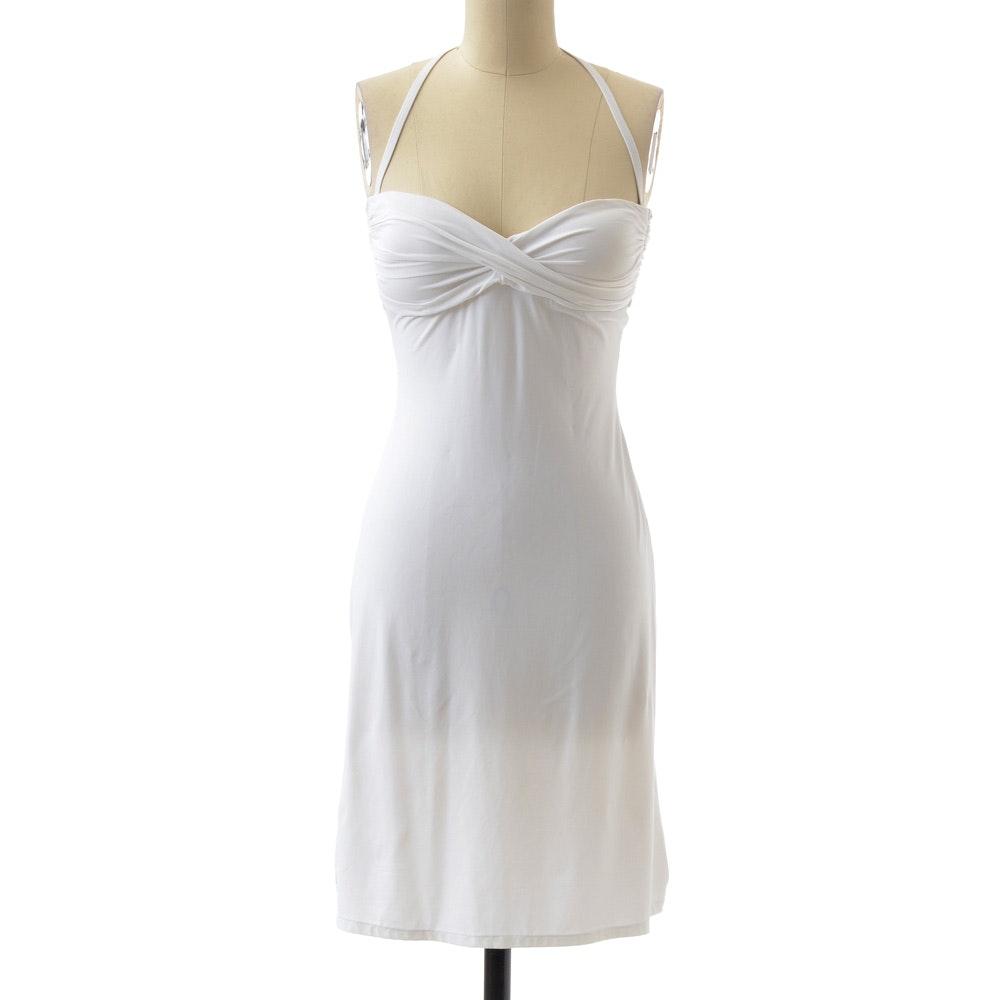 Carmen Marc Valvo White Nylon Blend Jersey Strapless Halter Swim Dress with Ruched Padded Bodice
