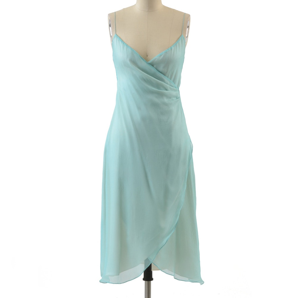 Ralph Lauren Ruched Silk Chiffon Sleeveless Dress in Pale Aqua and Ivory Silk