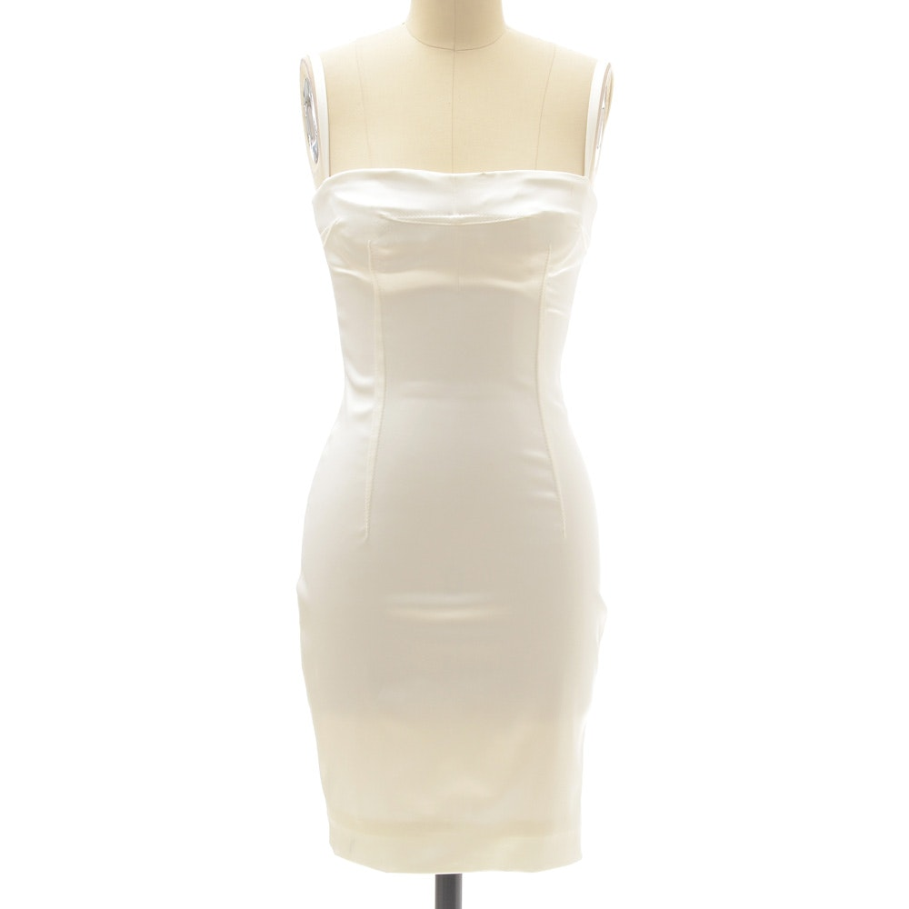 Dolce & Gabbana White Satin Body Con Sleeveless Cocktail Dress
