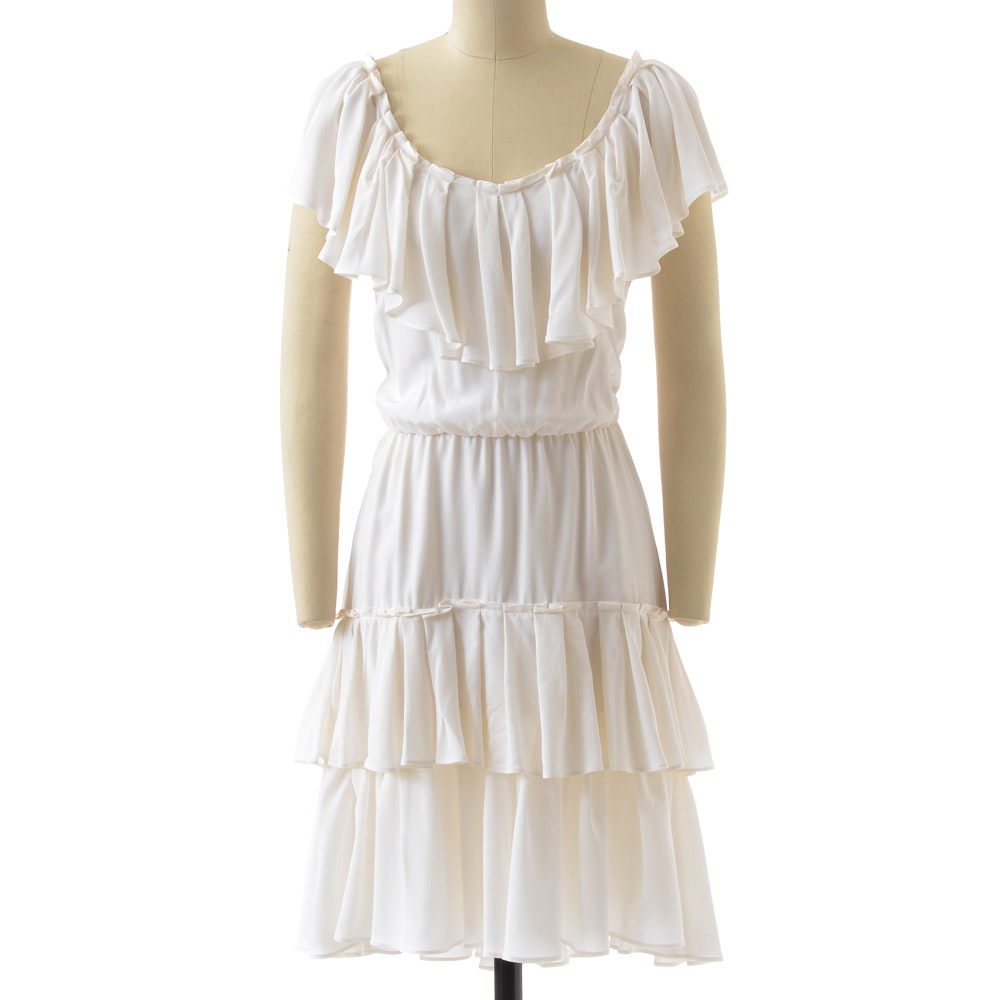 Cynthia Steffe White Silk Ruffled Sleeveless Dress