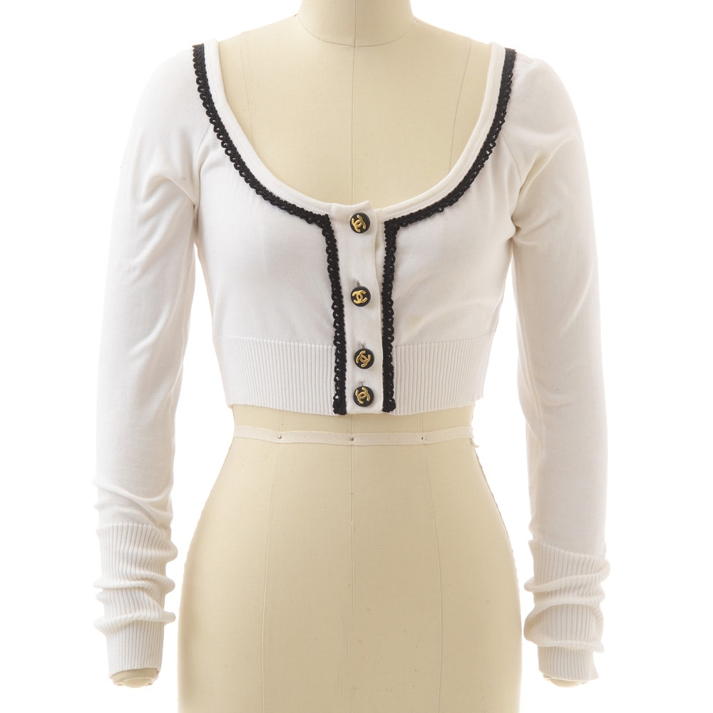 Chanel Boutique White Knit Crop Cardigan Trimmed in Black Ribbon with Goldtone CC Logo Black buttons