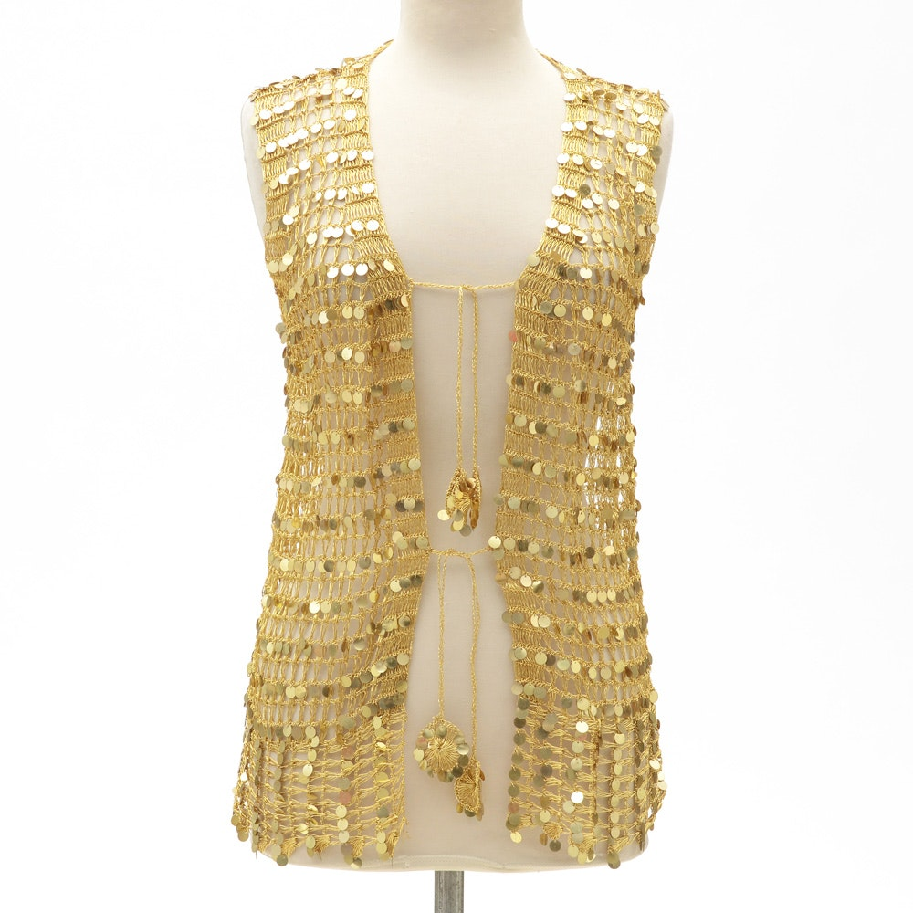 Hand Knit Open Knit Gold Metallic Vest Embellished with Reflective Discs