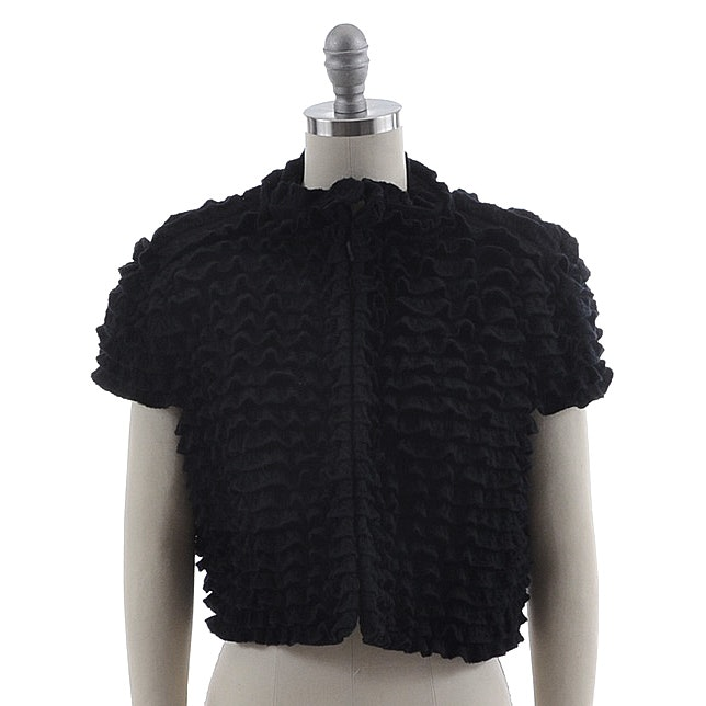 Alaïa of Paris Black Knit Fleece Wool Blend Ruffled Bolero Shrug Jacket