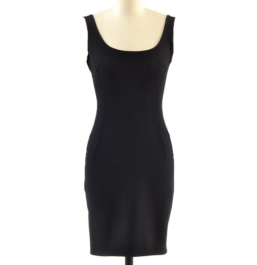 Michael Kors Form Fitting Black Body Con Sleeveless Dress
