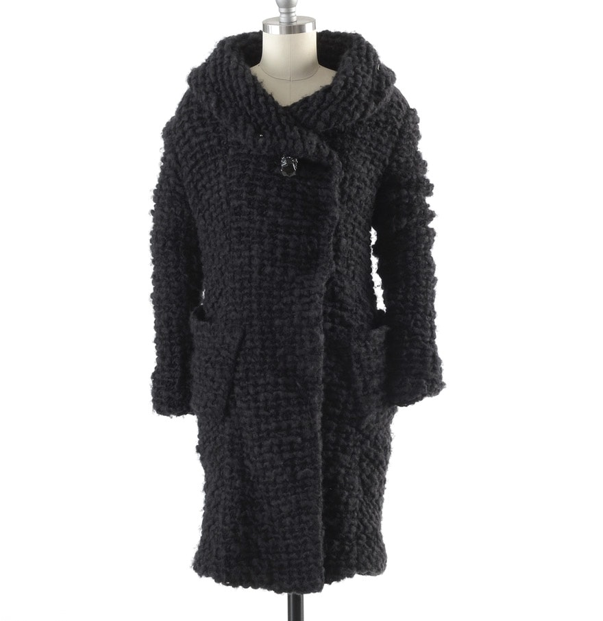 Donna Karan of New York Fall 2010 Black Wool Blend and Jersey Knit Coat