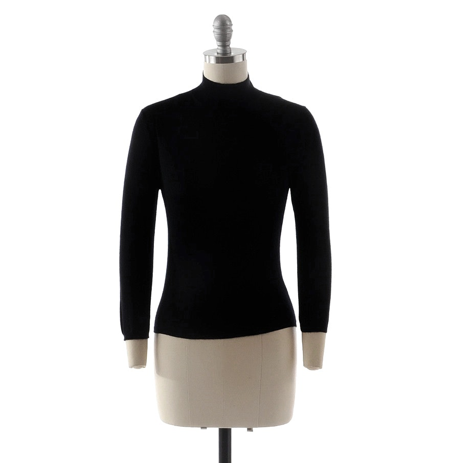 Prada Black Knit Mock Turtleneck Cashmere Sweater