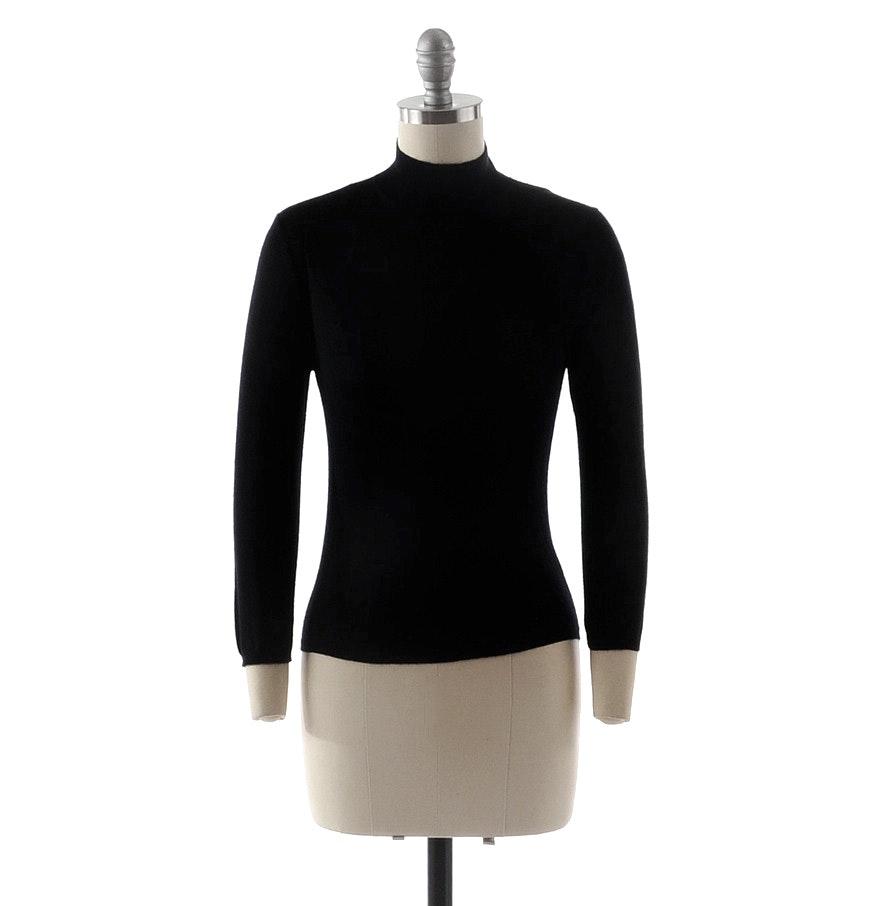 Prada Black Knit Mock Turtleneck Cashmere Sweater