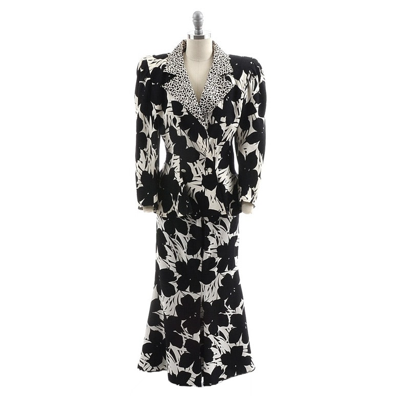 Early 1980s Emanuel Ungaro of Paris Parallele Bold Floral Silk Print Dress Jacket and Skirt Set