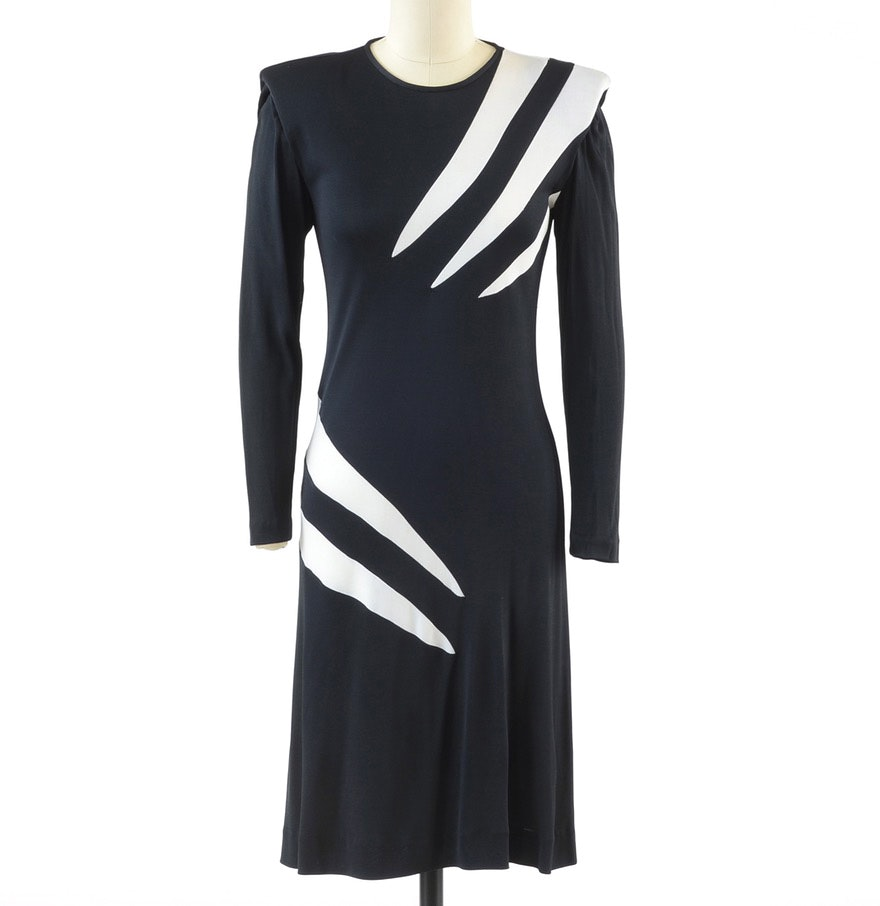 Late 70s Vintage Giorgio of Beverly Hills Black and White Polyester Jersey Over-The-Knee Length Cocktail Dress
