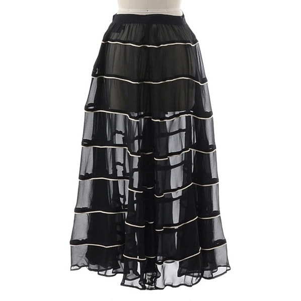 Donna Karan of New York Black Silk and Ivory Chiffon Evening Skirt