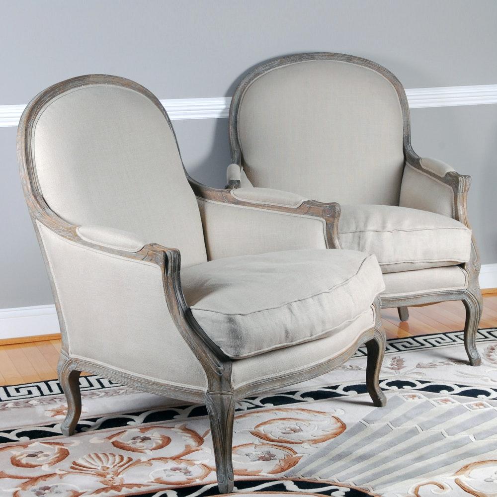 Pair of Restoration Hardware Louis XVI Style Bergère Chairs