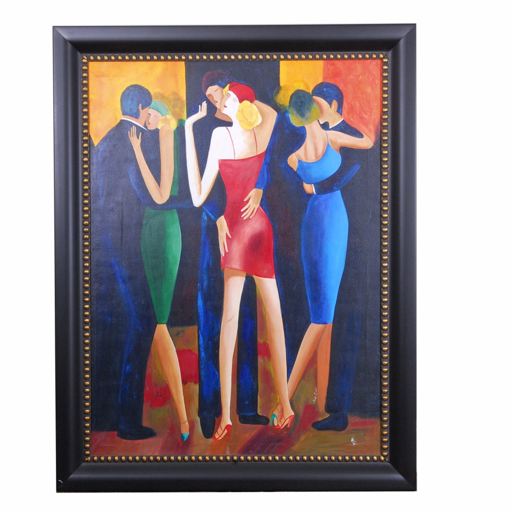 David V Acrylic on Canvas Board of Dancing Couples