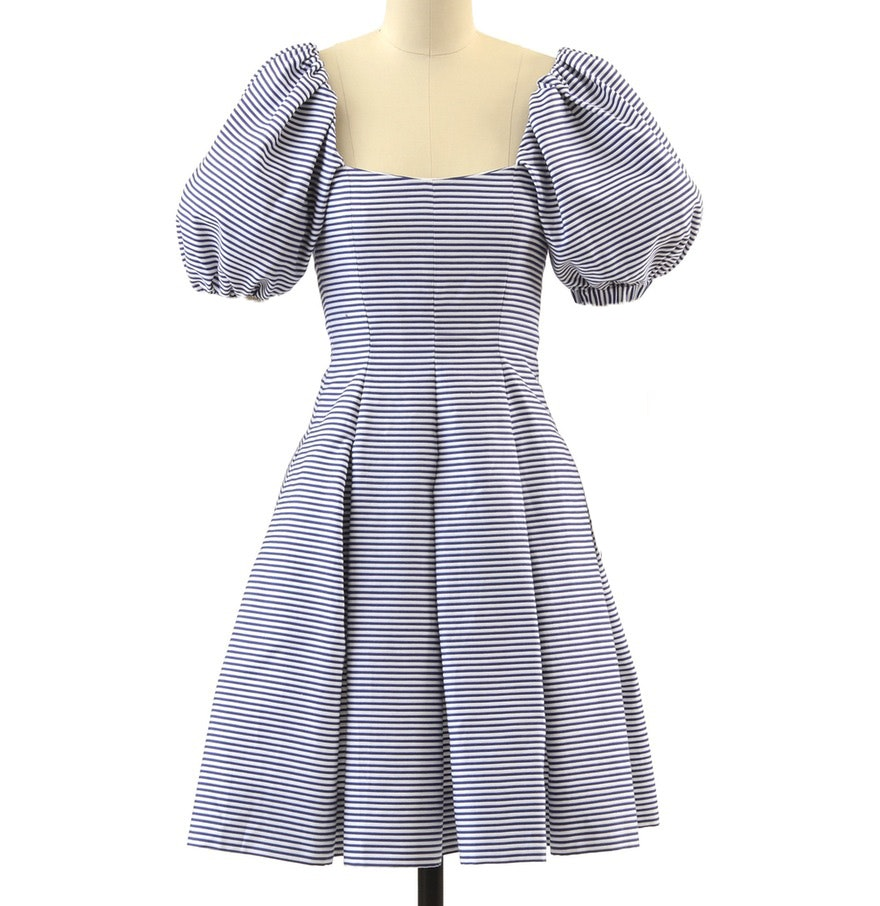 Yves Saint Laurent Rive Gauche Navy Blue and White Striped Cotton Nautical Dress
