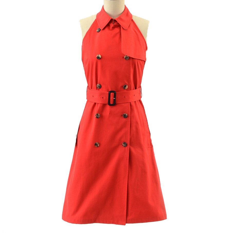 Burberry of London Double Breasted Red Sleeveless Trench Halter Dress
