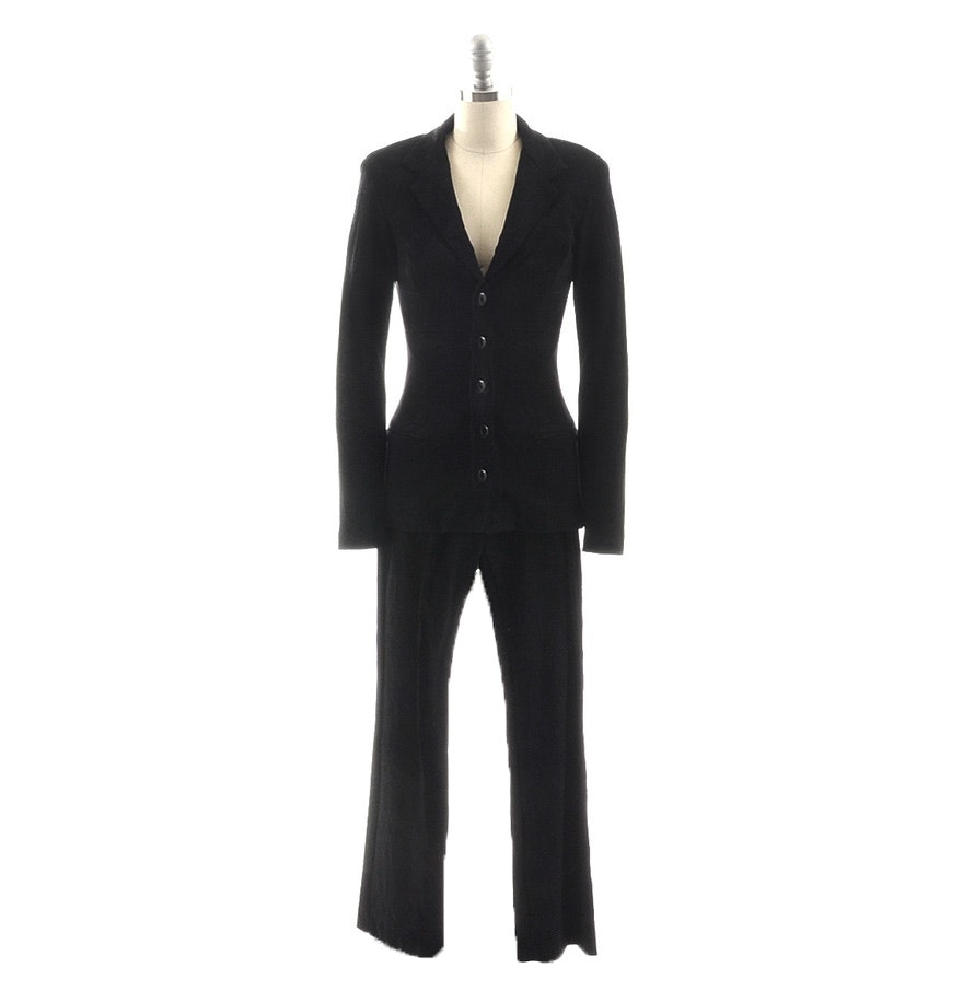 Betsey Johnson Black Brocade Spandex Blend Pant Suit with Black Roses