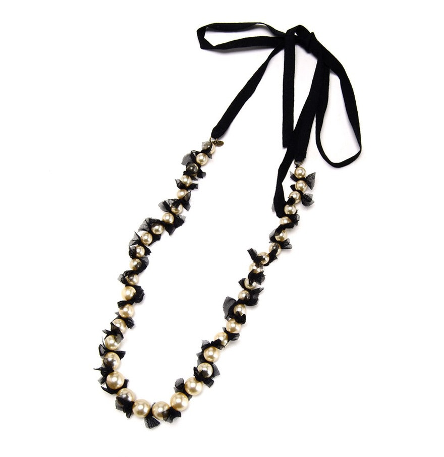 Lee Angel Pearlized Beaded Black Ribbon and Mesh Necklace