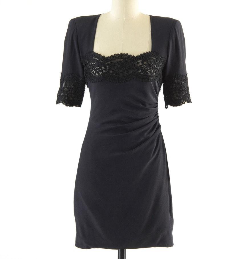 Circa 1980s Vintage Emanuel Ungaro Parallele of Paris Ruched Black Silk Cocktail Dress Accented with Black Lace