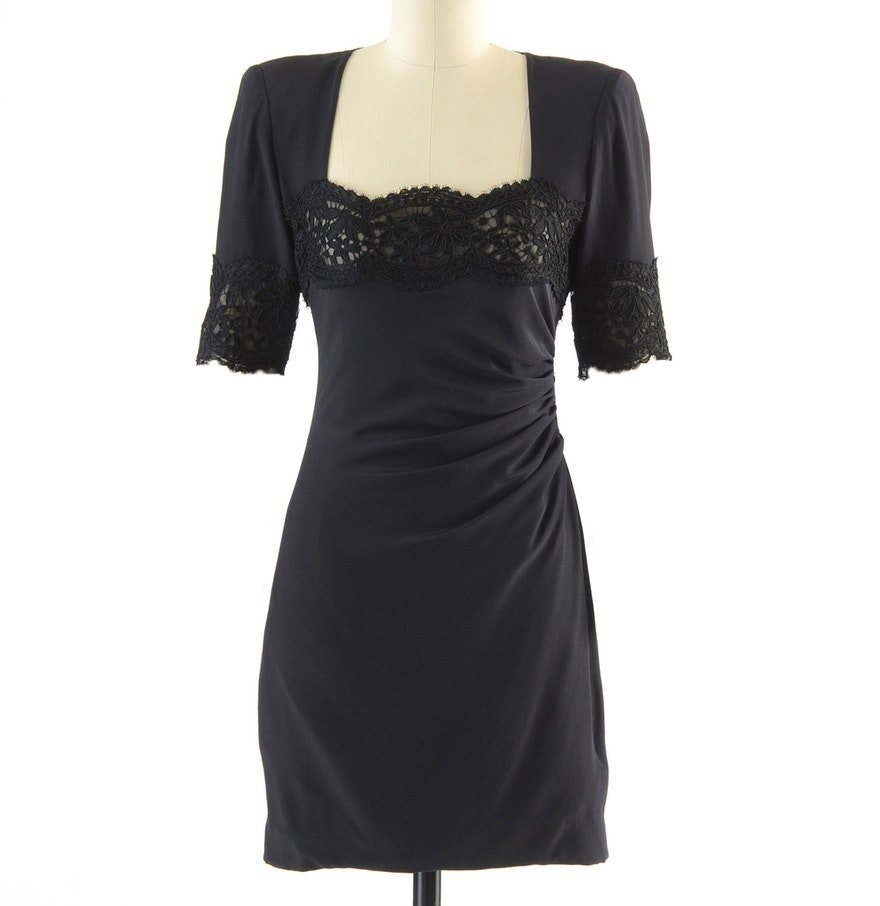 Circa 1980s Vintage Emanuel Ungaro Parallele of Paris Ruched Black Silk Cocktail Dress Accented with Black Lace