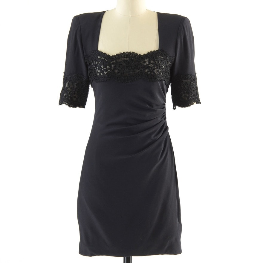 0a45bc277f Circa 1980s Vintage Emanuel Ungaro Parallele of Paris Ruched Black Silk Cocktail  Dress Accented with Black ...