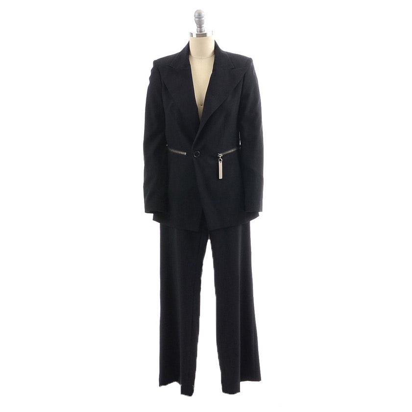 Dirk Bikkembergs Black Wool Gabardine Pant Suit with Grommets and Matching Belt