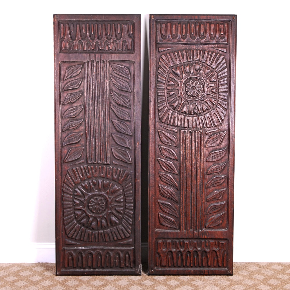Carved Wooden Panels With Sunflower Motif