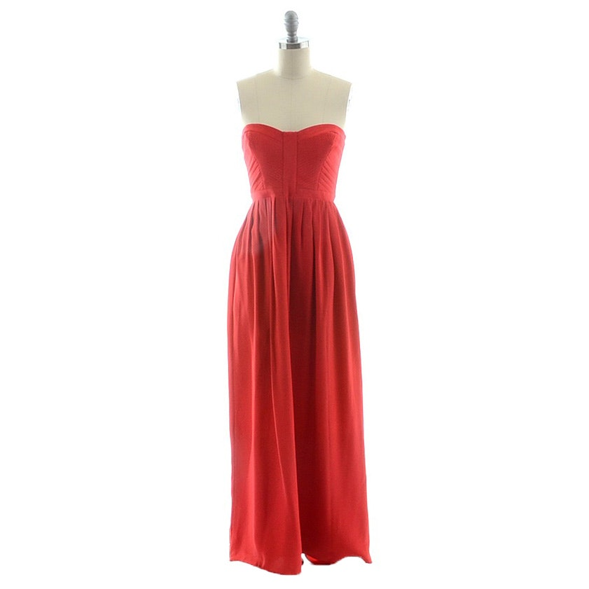 Parker Strapless Red Evening Dress with Sweetheart Neckline