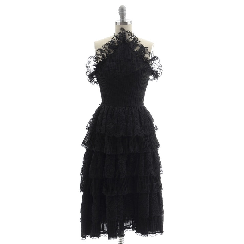 Vintage Mexican Black Lace Ruffled Cocktail Dress with Crystal Pleating and Halter Strap