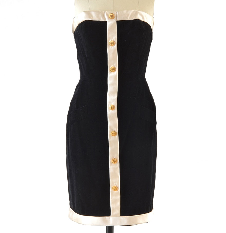 1990s Chanel Boutique Black Velvet and Ivory Silk Strapless Cocktail Dress