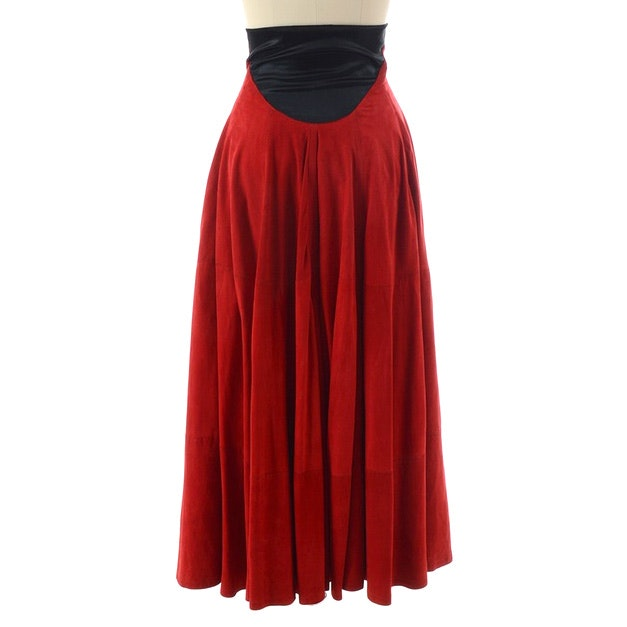 Gianfranco Ferre Studio Long Red Suede Skirt Trimmed in Black Satin