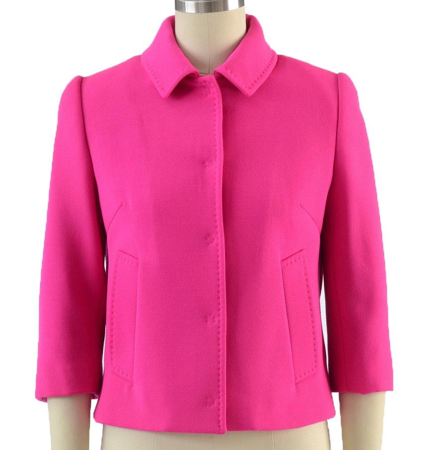 Dolce & Gabbana Hot Pink Virgin Wool Crop Jacket