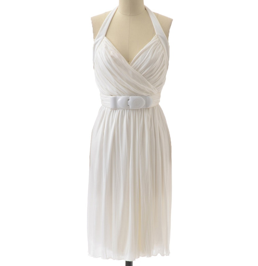 Versace Grecian Inspired Ruched Halter Dress with Medusa Buckle in White