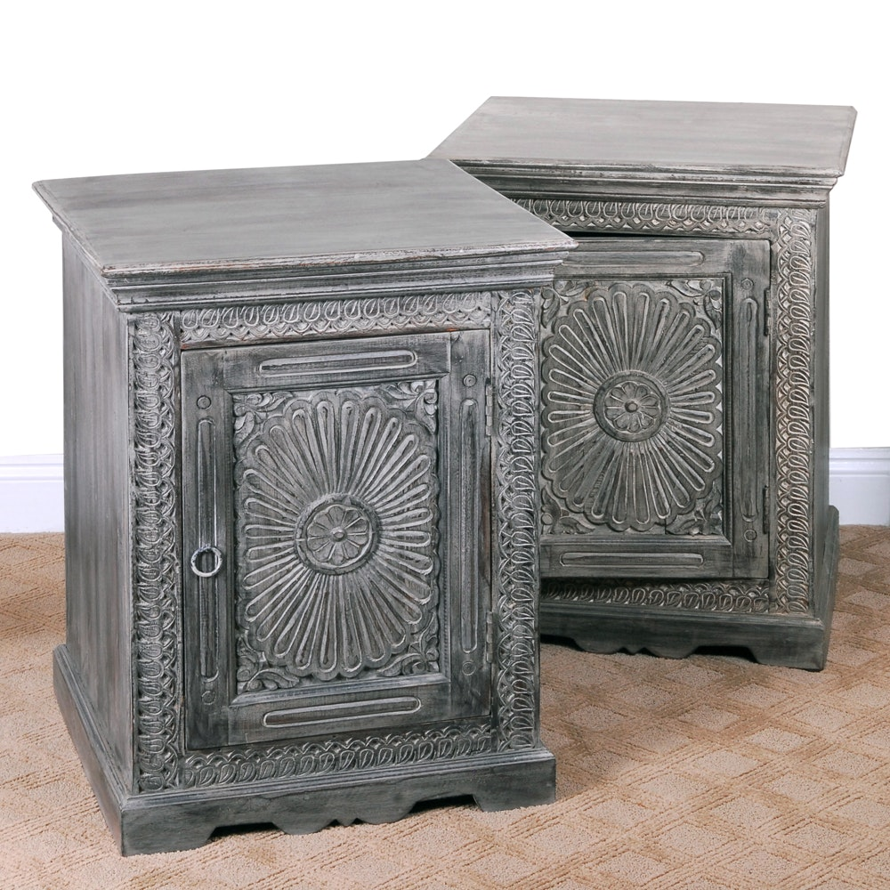 Pair of Indian Carved Front Nightstands