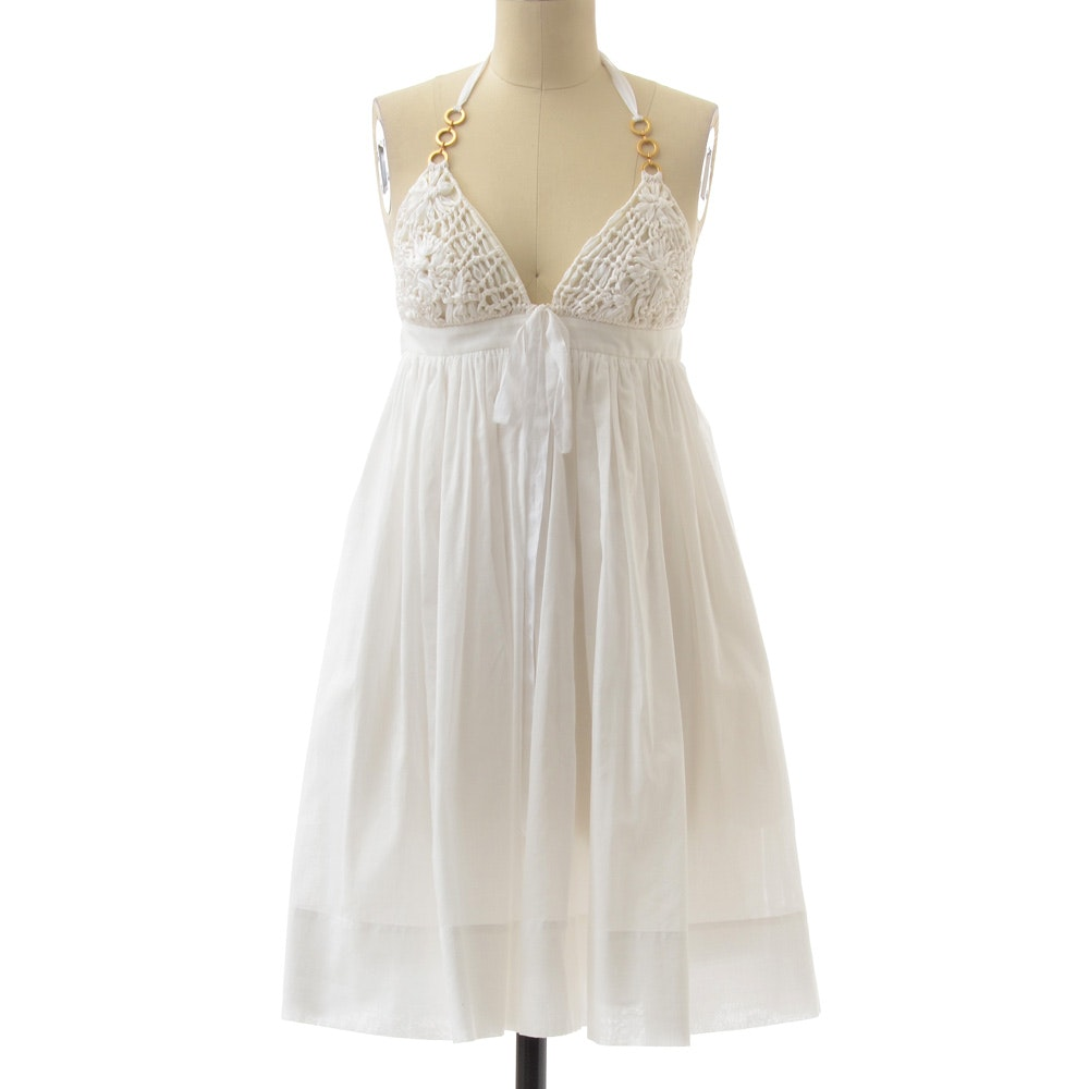 Nicole Miller Studio White Cotton and Ribboned Baby Doll Halter Dress