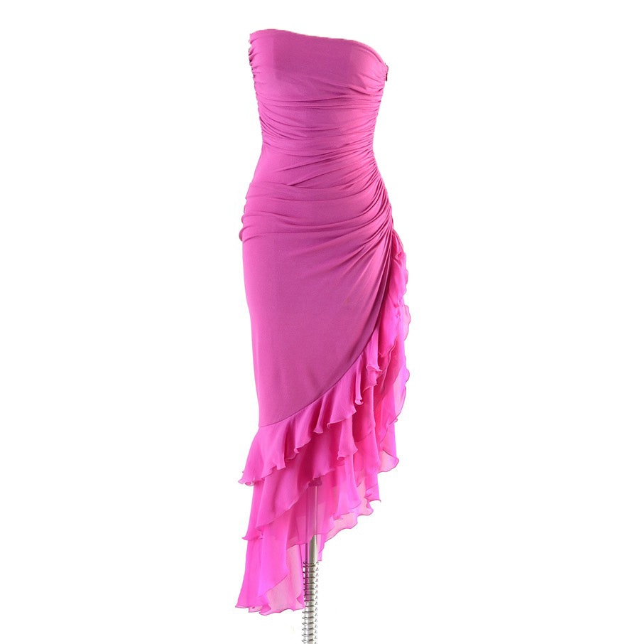 Emanuel Ungaro of Paris Ruched Magenta Pink Strapless Evening Dress Accented in Ruffled Silk Chiffon