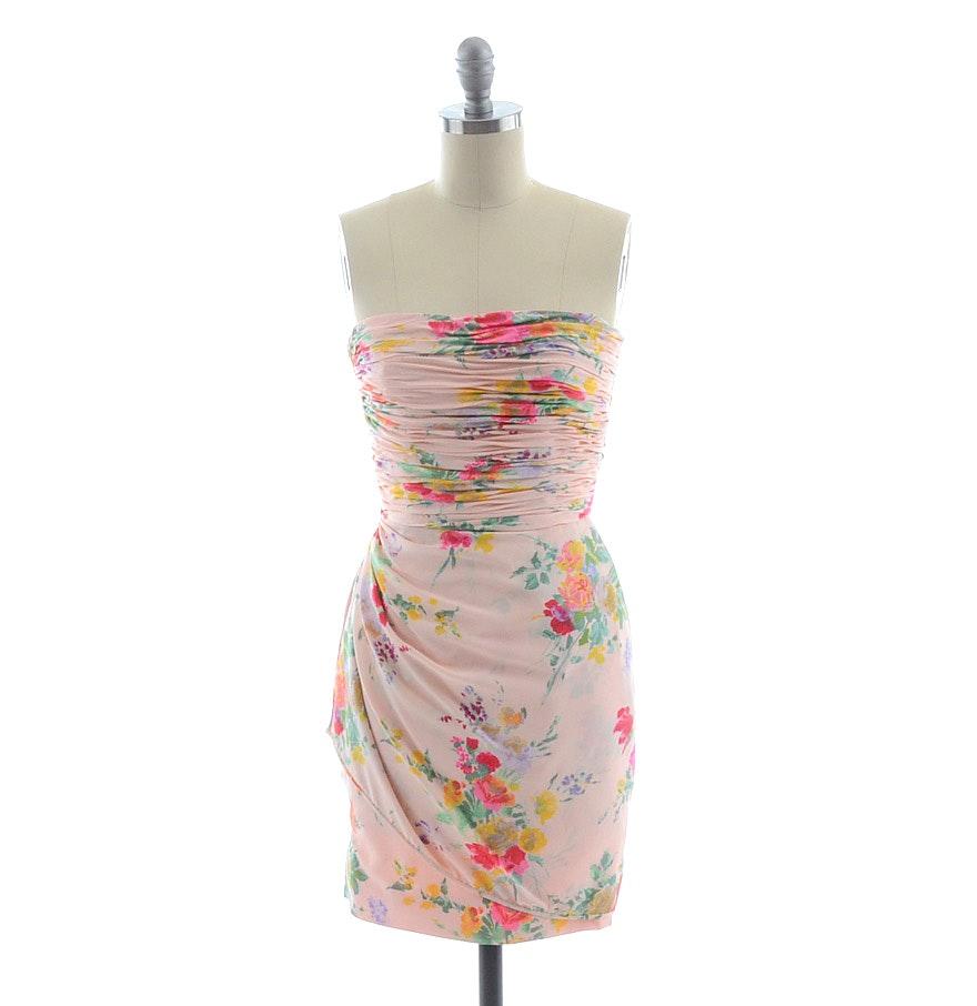 1990s Emanuel Ungaro Parallele of Paris Floral Print Silk Dress
