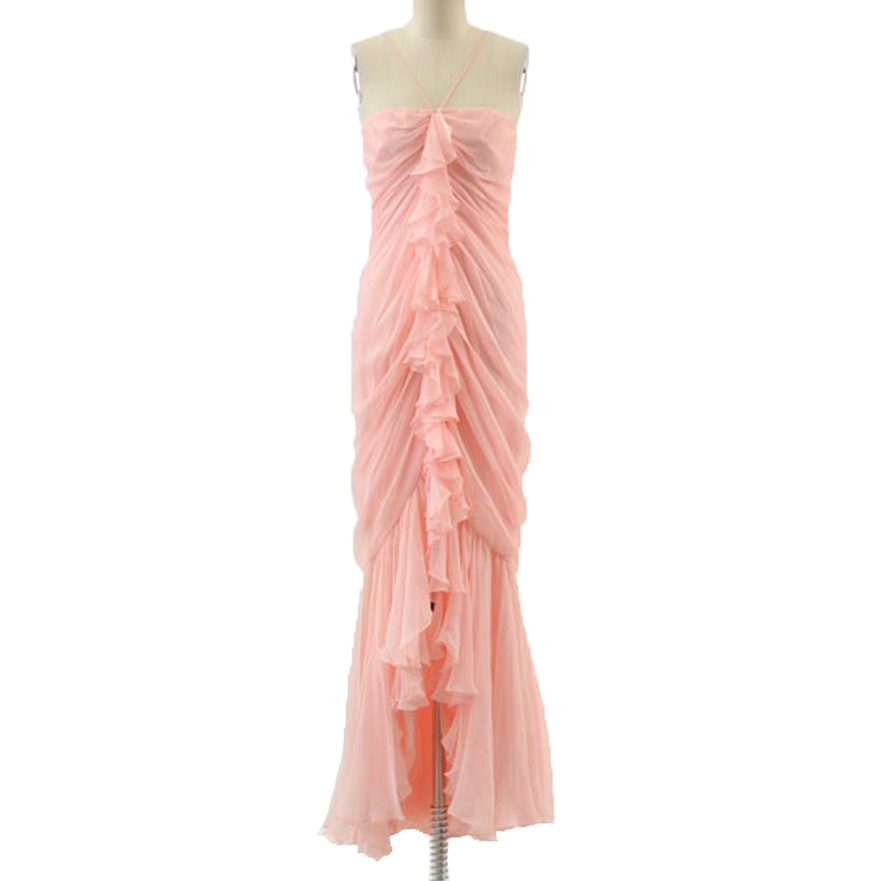 Travilla Silk Chiffon Sleeveless Halter Strap Evening Dress in Coral from Bonwit Teller