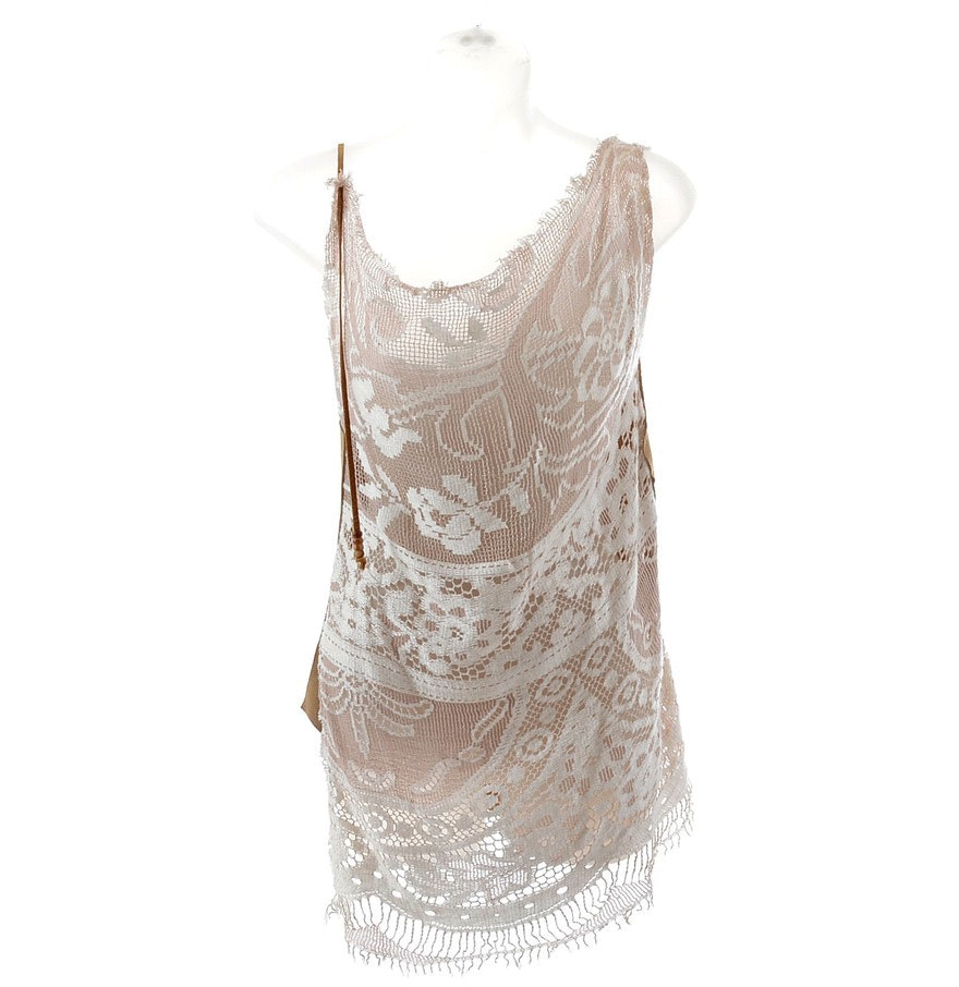 D & G Dolce & Gabbana Sexy Ivory Silky Lace and Natural Suede Sleeveless Tunic Dress with Beaded Leather Shoulder Strap