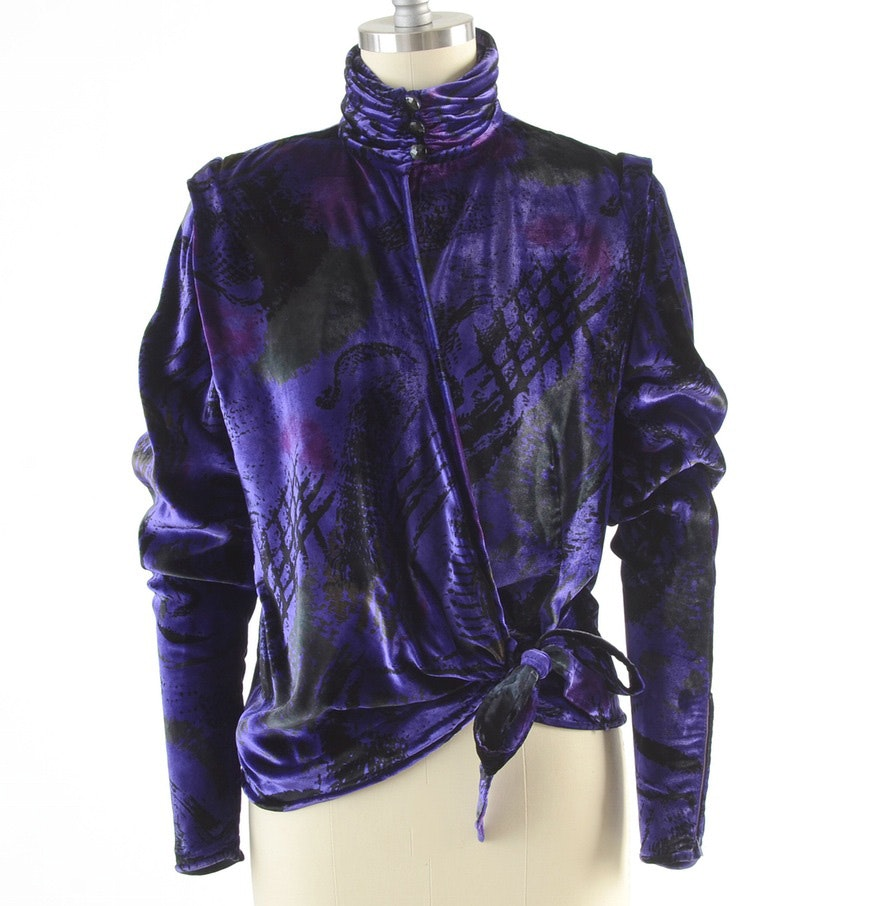 Late 1970s-Early 80s Vintage Emanuel Ungaro Parallele of Paris Purple Velvet Print Turtleneck Wrap Blouse