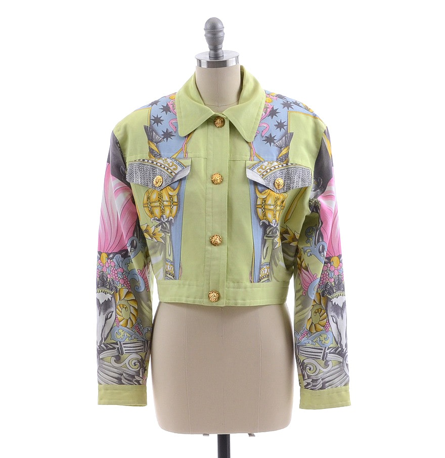 Laurel Chartreuse Multi-Color Print Snap Front Jacket
