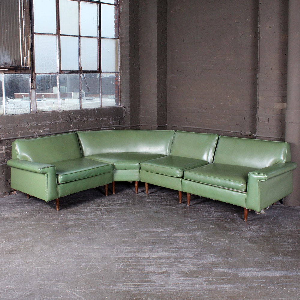 Mid Century Modern Green Vinyl Sectional EBTH