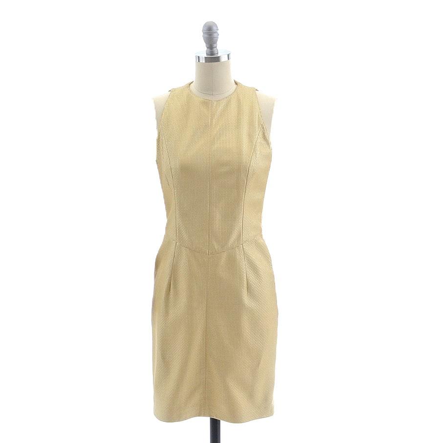 Escada by Margaretha Ley Champagne and Gold Metallic Lambskin Leather Sleeveless Dress