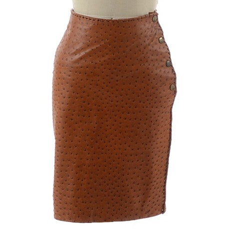 Vintage Muriel 82 Leather Ostrich Skin Leather Skirt