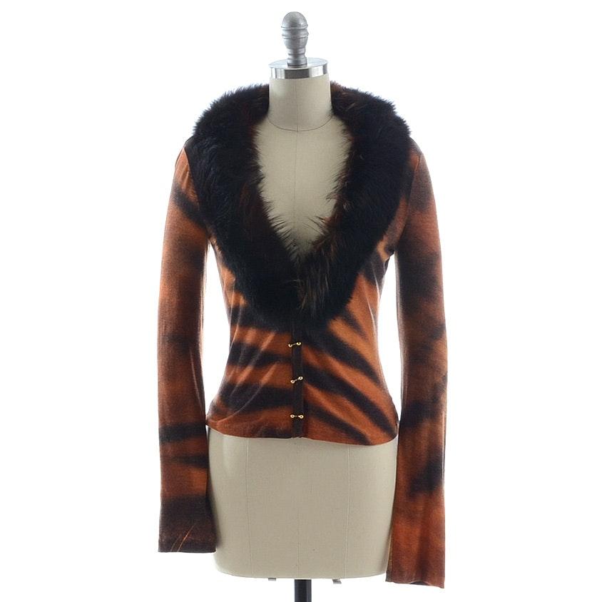 Roberto Cavalli Wool Blend Jersey Tiger Print Cardigan with Fox Collar