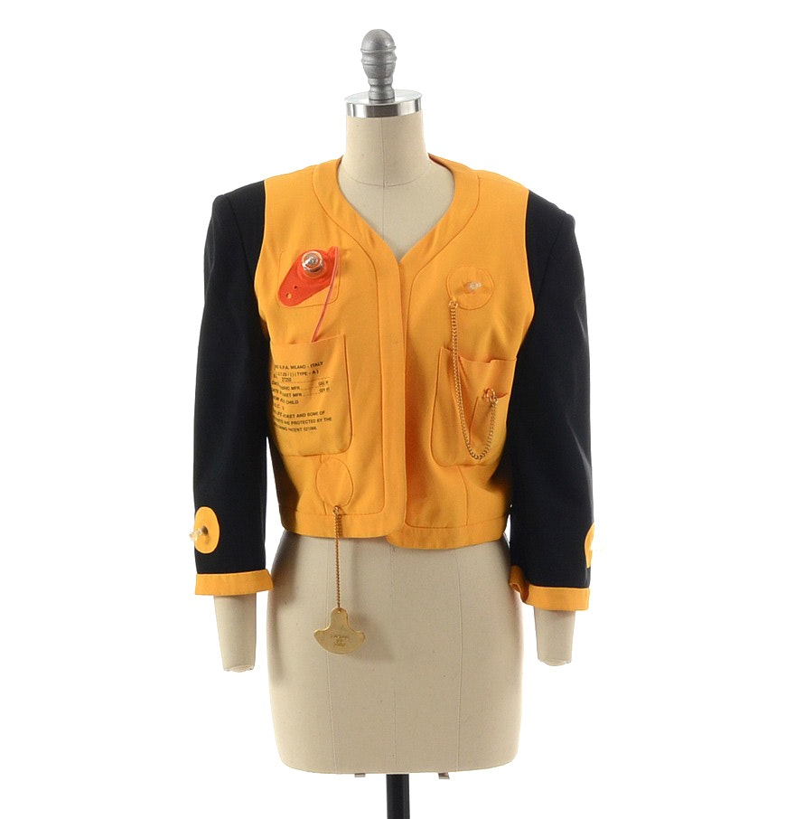 "1991 Moschino Couture! Black and Yellow ""Cruise Me Baby"" Life Jacket Open Front Blazer"