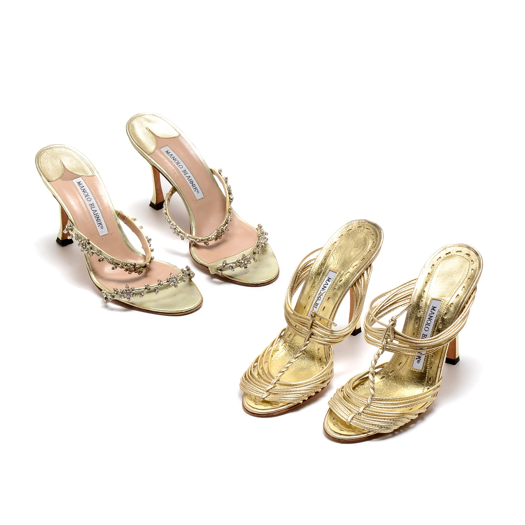 Two Pair of Manolo Blahnik Gold Metallic Strappy Dress Sandals