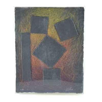 "Original Tuska Cast Paper Bas-Relief Sculpture ""Four Square"""
