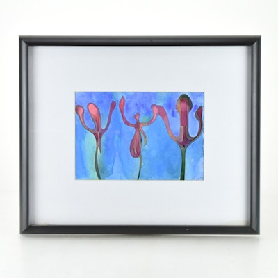 "Original Tuska Cut Paper and Watercolor Framed Art ""Buds"" Number 17"