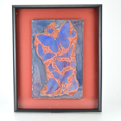 "Original Tuska Cut Paper and Watercolor Framed Art ""Tattoo"" Number 1"