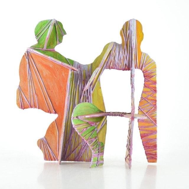 """Original Tuska Mixed Media Sculpture """"Conversation"""""""