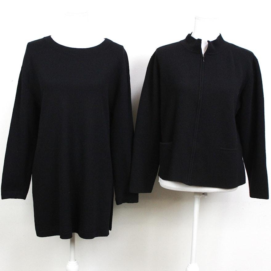 Women s St. John and Eileen Fisher Black Knit Sweaters   EBTH ed4b609cf